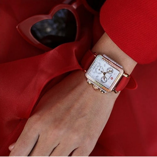 johnsonsjewelers-lady-in-red-wearing-red-banded-watch